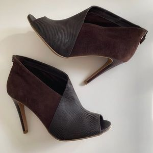 🔥Halogen Brown Peep Toe Ankle Boots